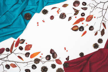 autumn leaves and fabric