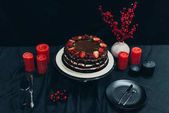 Cake and red candles