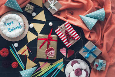 presents with sweets and cake