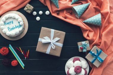 present box and birthday caps