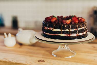 chocolate cake with fruits
