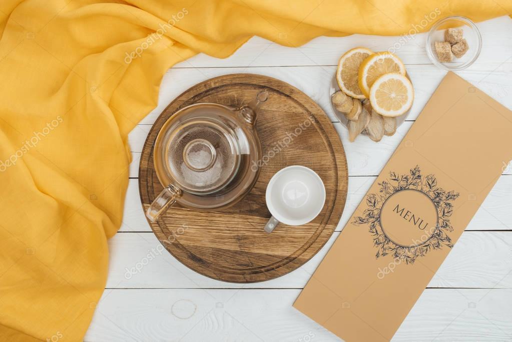 tea set and menu