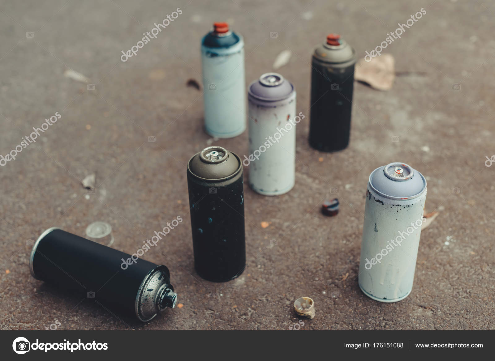 Cans With Colorful Spray Paint For Graffiti On Asphalt Photo By Viktoriasapata