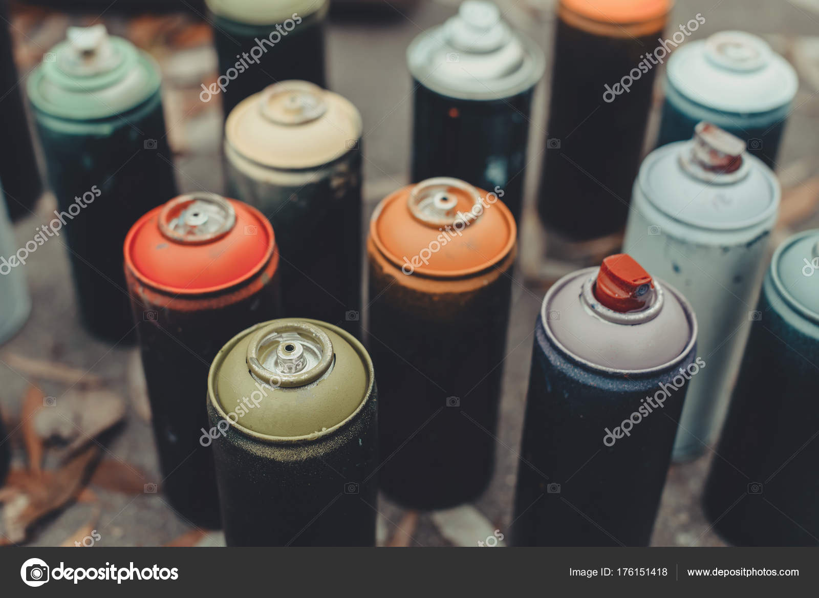 Close Up Of Cans With Colorful Spray Paint For Graffiti Photo By Viktoriasapata