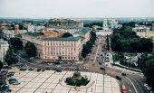 Fotografie Letecký pohled na staré město centrální čtvrti Kyjev, Ukrajina