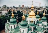 a légi felvétel a Kiev Pechersk Lavra egyház ellen a gyönyörű város, Ukrajna