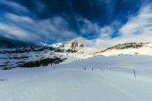ski track on beautiful mountains landscape under blue sky, Austria