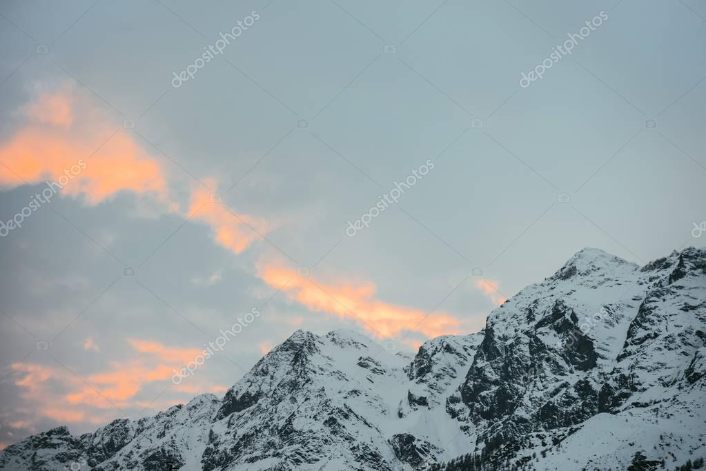 beautiful snowy mountains under sunset sky, Austria