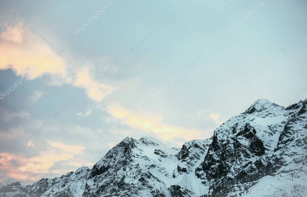 Фотообои tranquil mountains landscape under blue twilight sky, Austria