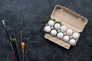 White chicken eggs in carton and brushes on dark background