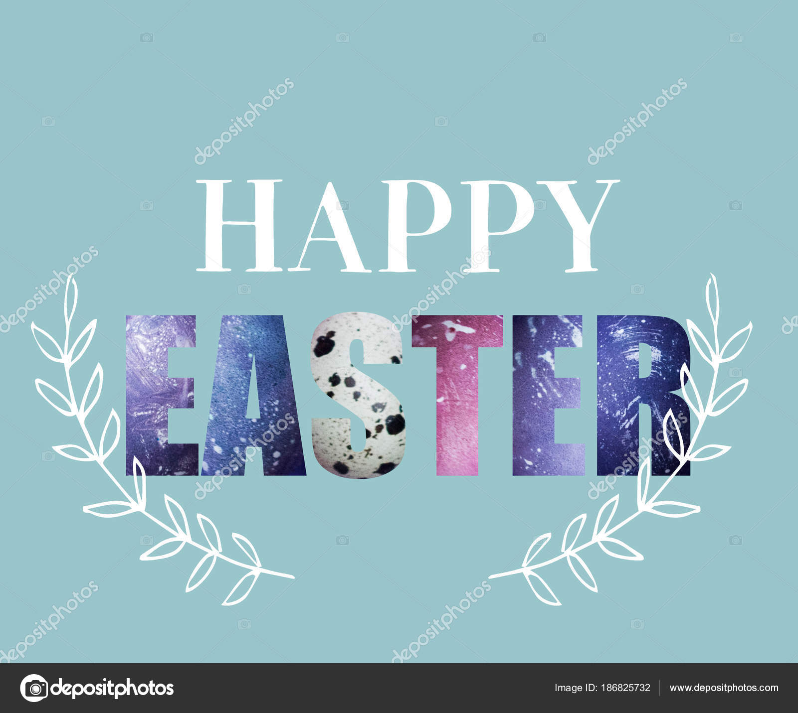 Creative Greeting Card Happy Easter Lettering Textured Colored