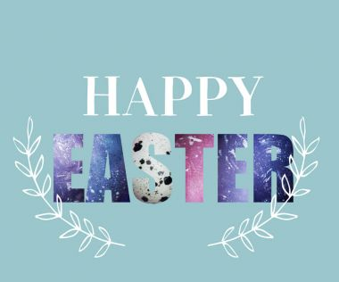 creative greeting card with happy easter lettering textured in colored eggshells