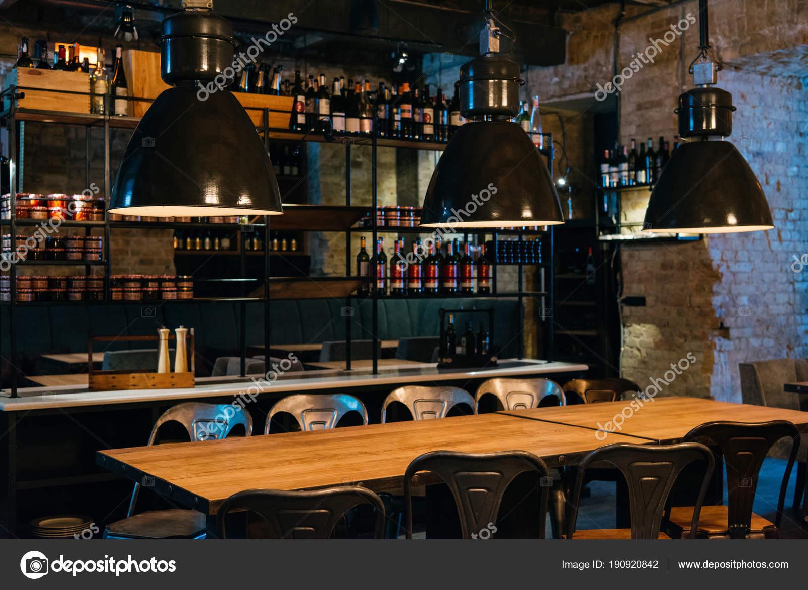 Wooden Tables Lamps Bar Counter Modern Restaurant Stock Photo