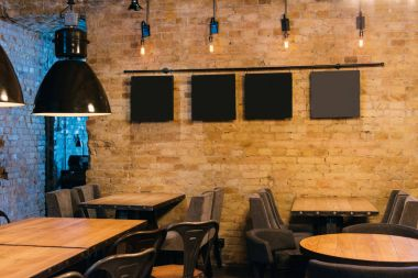 stylish atmospheric interior of empty pub