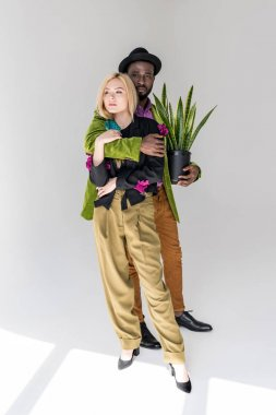 interracial stylish couple with green plant in flowerpot posing on grey backdrop