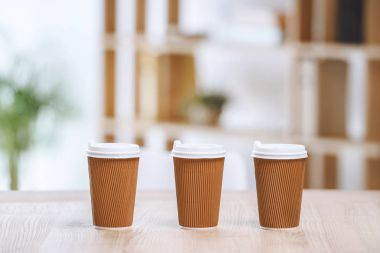 Disposable cups of coffee