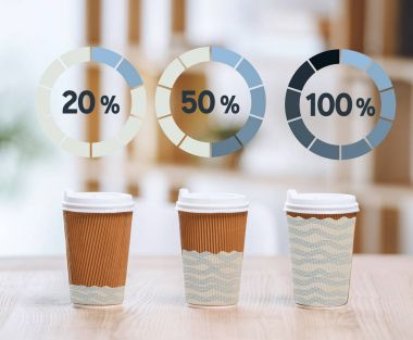Cups with different degree of filling