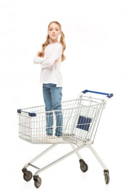 kid standing in shopping cart