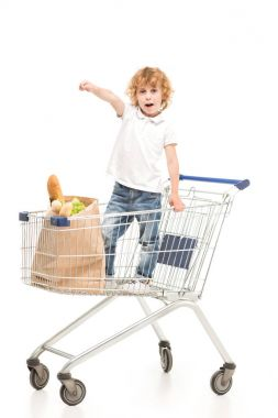 Little boy standing in shopping cart and pointing away isolated on white stock vector