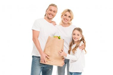 Family with paper bag