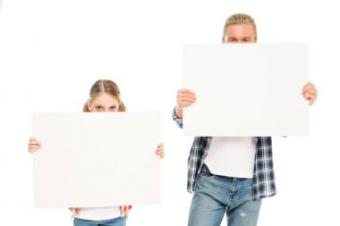 Obscured view of father and daughter with blank banners isolated on white stock vector
