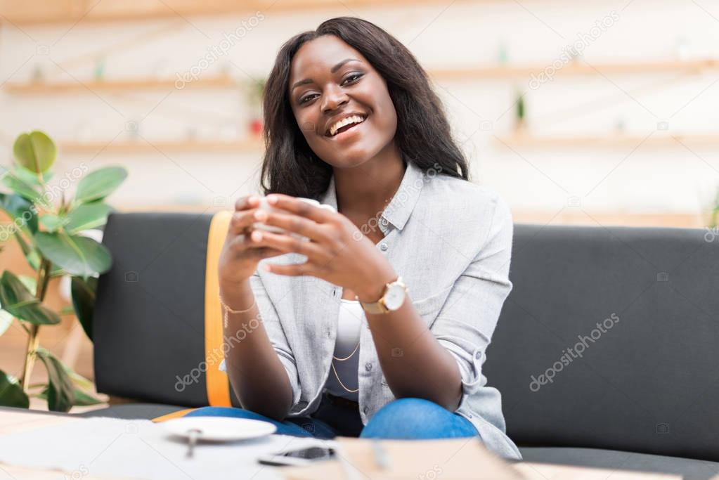 woman having coffee break