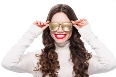 Portrait of young smiling woman with bright makeup wearing gold opaque sunglasses, isolated on white stock vector