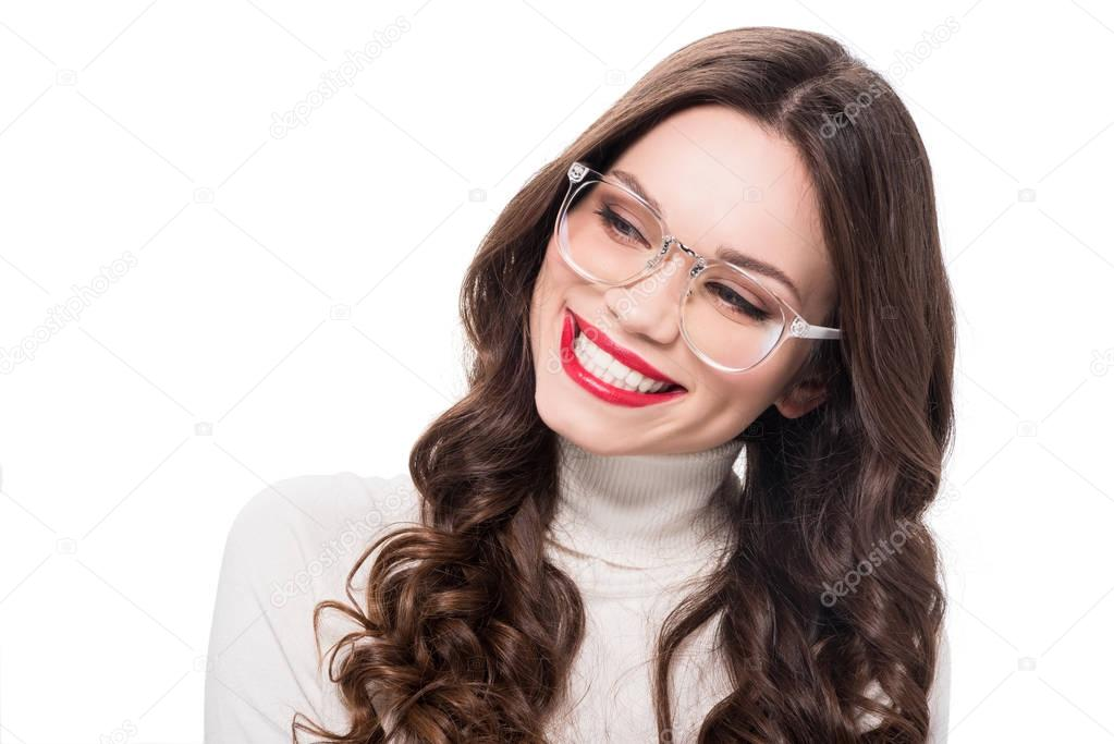 Cheerful woman in plastic glasses