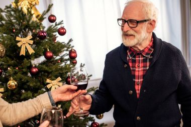 senior couple with wine at christmas