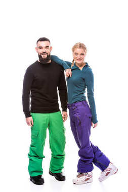 couple in snowboarding clothes