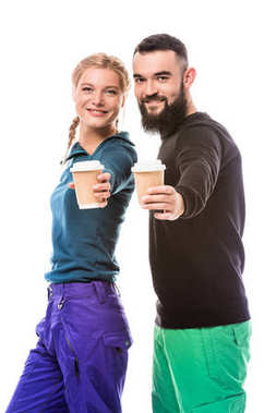 couple of snowboarders with coffee to go