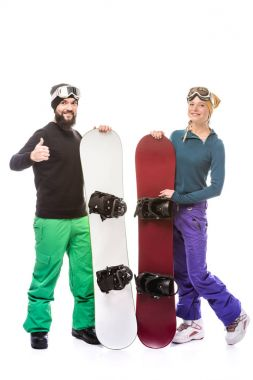 Man with snowboard showing thumb up while girlfriend standing near by isolated on white stock vector