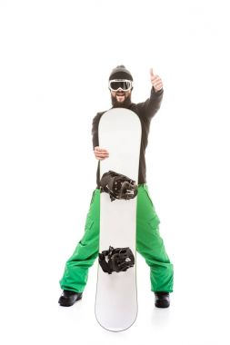 Man with snowboard showing thumb up isolated on white stock vector
