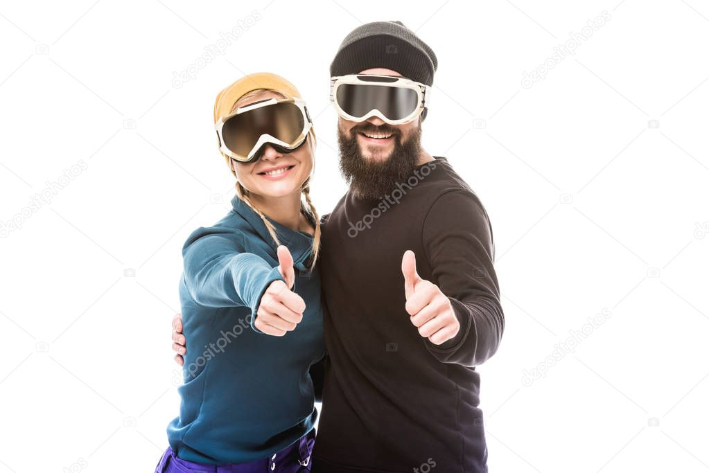couple in snowboard glasses