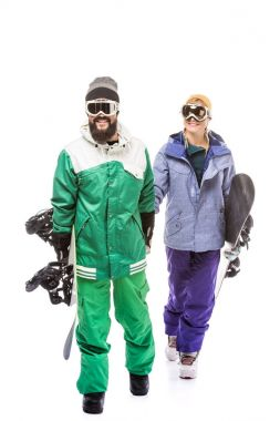 Couple in snowboarding costumes and glasses with snowboards isolated on white stock vector