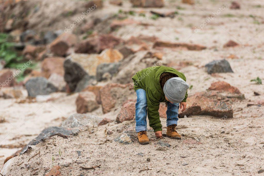 little boy on nature