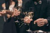 Glas Champagner und funkelt