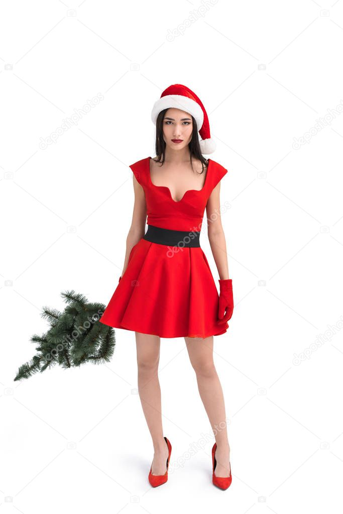 asian woman with christmas tree