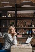 žena doma pomocí přenosného počítače