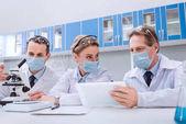 Vědci pracující s digitálním tabletu