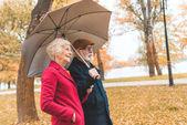 Fotografie senior couple with umbrella in park