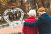 Seniorenpaar im Herbstpark