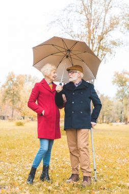 senior couple with umbrella