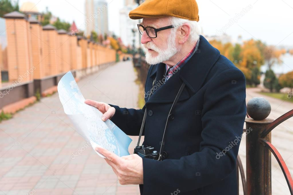 senior man with map