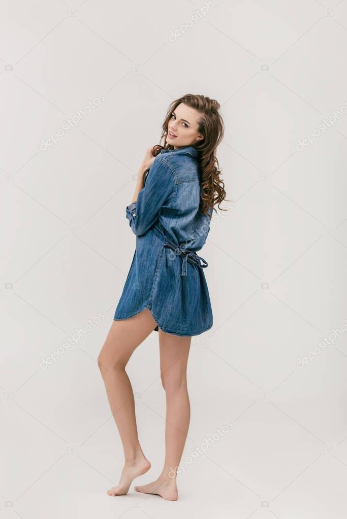 beautiful girl in denim shirt