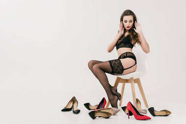 girl in lingerie with stylish shoes