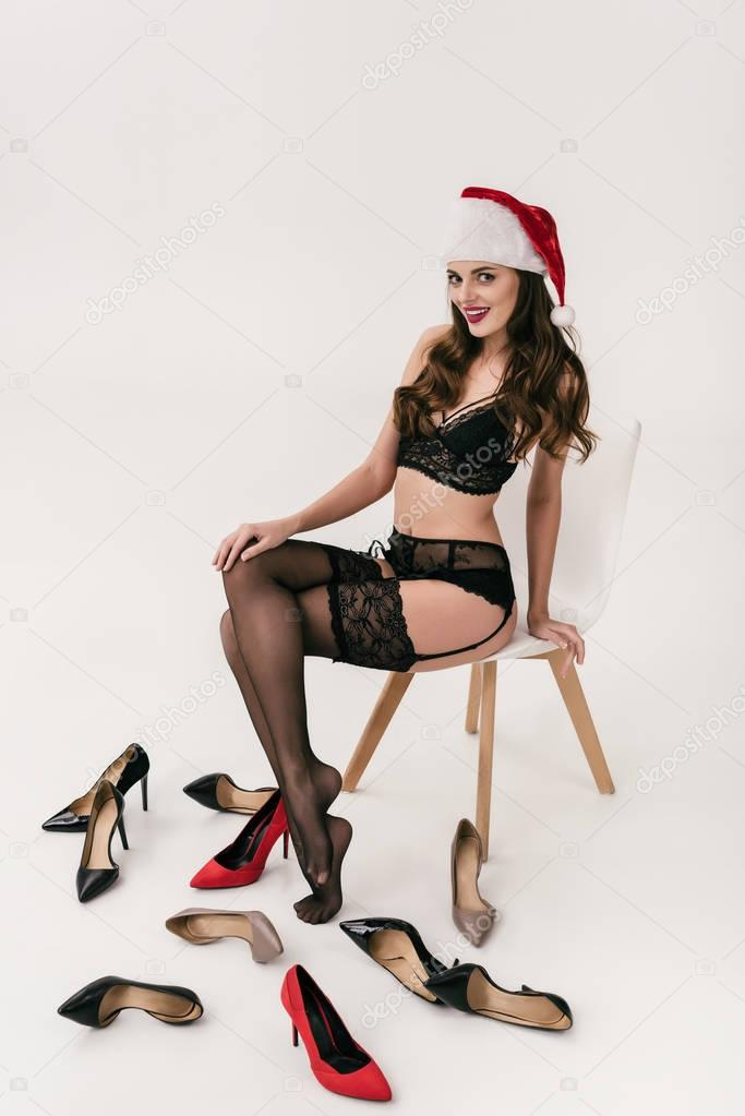woman in lingerie and santa hat