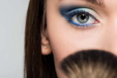 woman with blue eyeshadows
