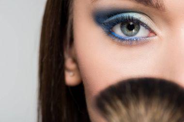 woman with blue eyeshadows
