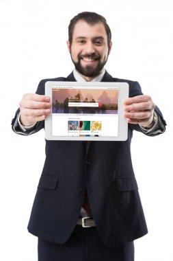 Tablet with shutterstock website